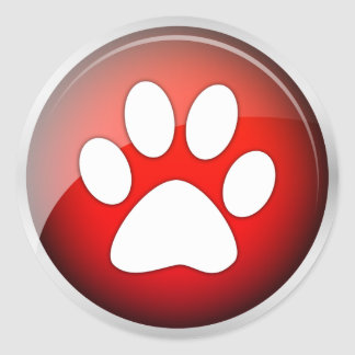 Animal Paw Print Red Icon pack of 6 20 Round Stickers