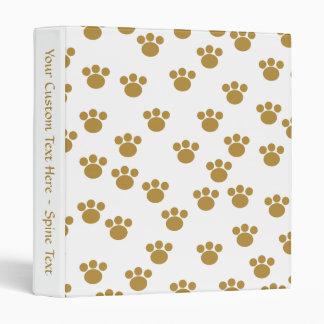 Animal Paw Prints. Brown and White Pattern. 3 Ring Binder