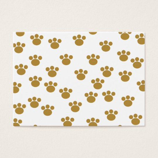 Animal Paw Prints. Brown and White Pattern. Business Card
