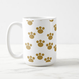 Animal Paw Prints. Brown and White Pattern. Classic White Coffee Mug