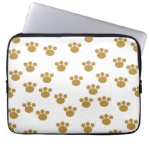 Animal Paw Prints. Brown and White Pattern. Computer Sleeve