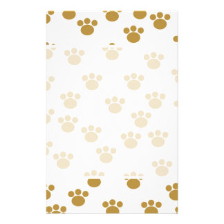 Animal Paw Prints Brown and White Pattern Custom Flyer