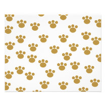 Animal Paw Prints. Brown and White Pattern. Flyer