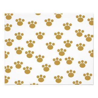 Animal Paw Prints Brown and White Pattern Personalized Flyer