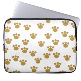 Animal Paw Prints. Brown and White Pattern. Laptop Computer Sleeves