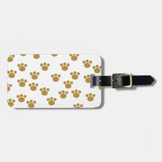 Animal Paw Prints. Brown and White Pattern. Tags For Bags