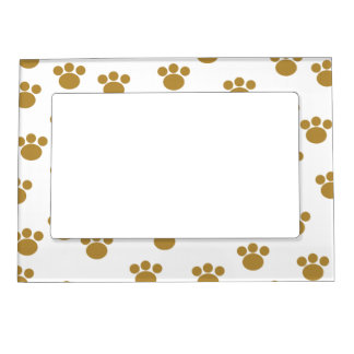 Animal Paw Prints Brown and White Pattern Photo Frame Magnet