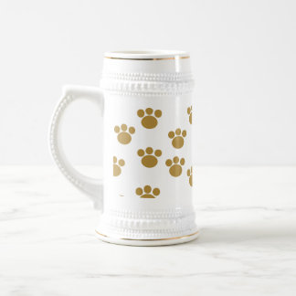Animal Paw Prints. Brown and White Pattern. 18 Oz Beer Stein