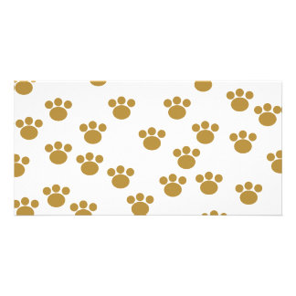 Animal Paw Prints. Brown and White Pattern. Photo Card