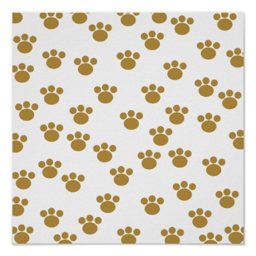 Animal Paw Prints. Brown and White Pattern. Posters