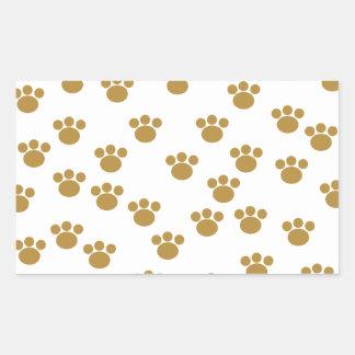 Animal Paw Prints. Brown and White Pattern. Rectangular Sticker