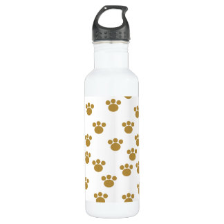 Animal Paw Prints. Brown and White Pattern. Stainless Steel Water Bottle