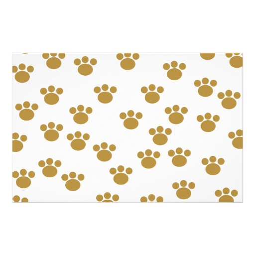 Animal Paw Prints. Brown and White Pattern. Stationery Design
