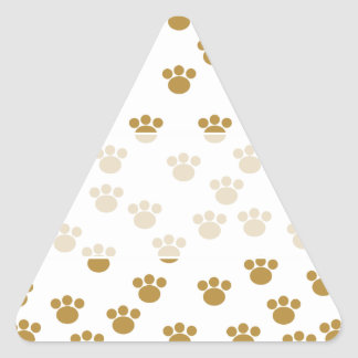 Animal Paw Prints. Brown and White Pattern. Triangle Sticker