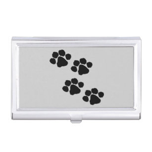 Paw print business card holders cases zazzle animal paw prints business card case colourmoves