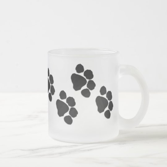 Animal Paw Prints Frosted Glass Coffee Mug