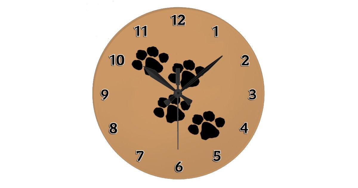 Animal Paw Prints Large Clock Zazzle