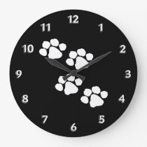 Animal Paw Prints Large Clock