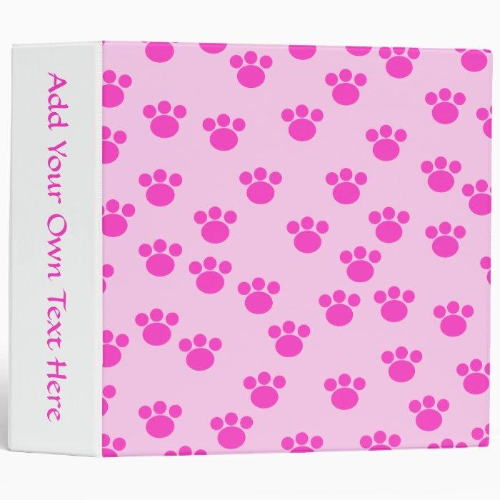 Animal Paw Prints. Light Pink and Bright Pink. 3 Ring Binder