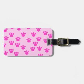 Animal Paw Prints. Light Pink and Bright Pink. Bag Tag