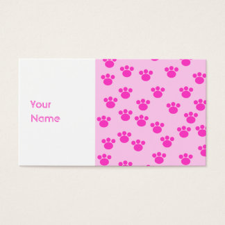 Animal Paw Prints. Light Pink and Bright Pink. Business Card