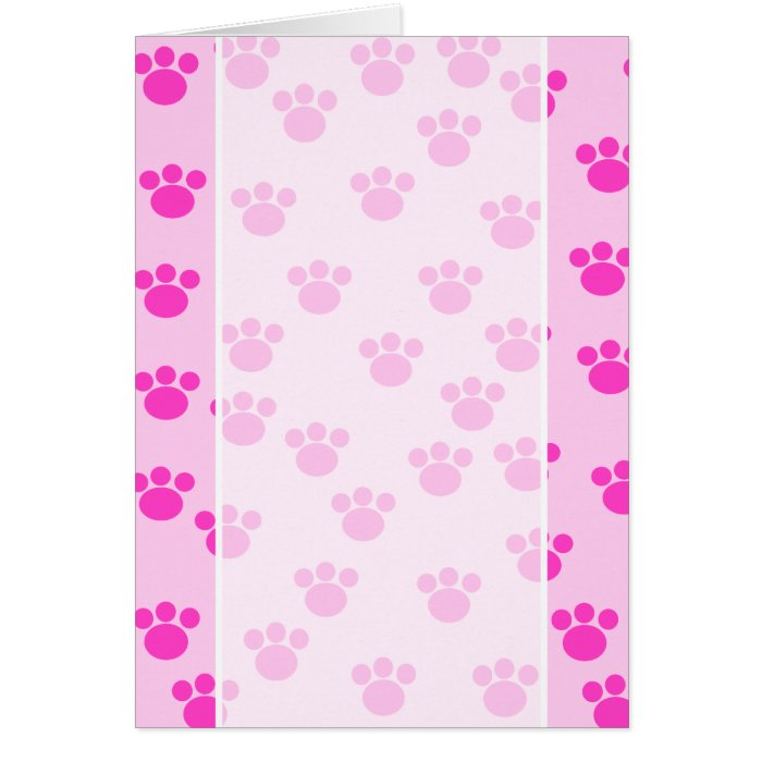 Animal Paw Prints. Light Pink and Bright Pink. Card