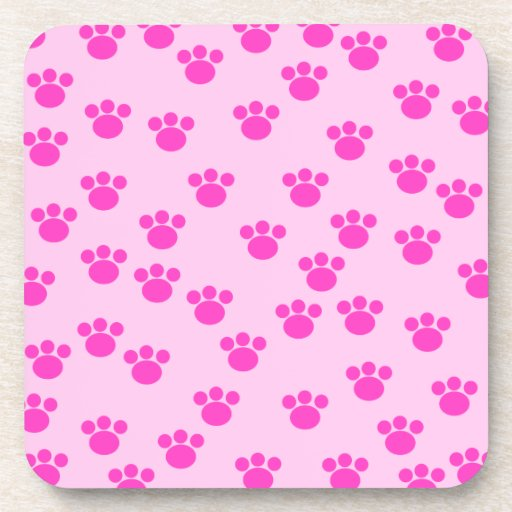 Animal Paw Prints. Light Pink and Bright Pink. Coasters