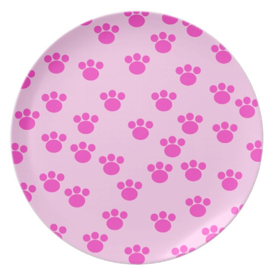 Animal Paw Prints. Light Pink and Bright Pink. Dinner Plate