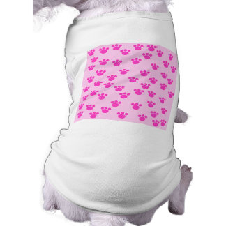 Animal Paw Prints. Light Pink and Bright Pink. Doggie T Shirt