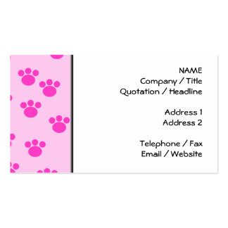 Animal Paw Prints. Light Pink and Bright Pink. Double-Sided Standard Business Cards (Pack Of 100)
