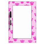 Animal Paw Prints. Light Pink and Bright Pink. Dry Erase Boards