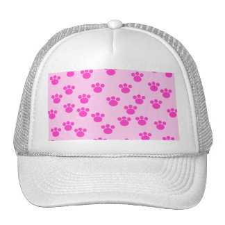 Animal Paw Prints. Light Pink and Bright Pink. Trucker Hat