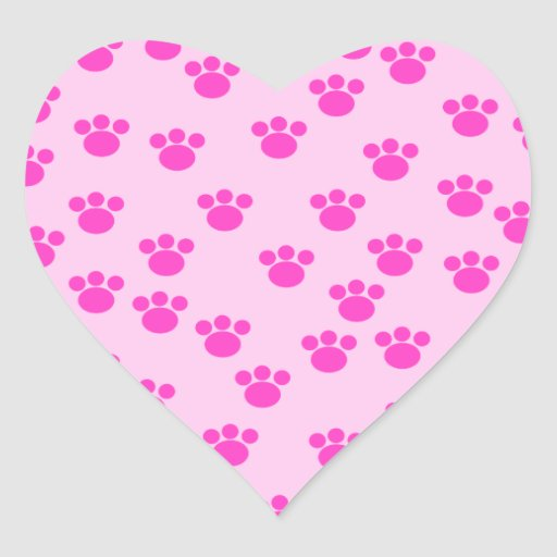 Animal Paw Prints. Light Pink and Bright Pink. Heart Sticker