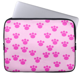 Animal Paw Prints. Light Pink and Bright Pink. Laptop Computer Sleeve
