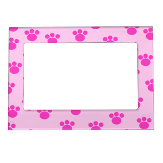 Animal Paw Prints. Light Pink and Bright Pink. Photo Frame Magnet