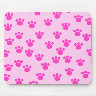 Animal Paw Prints. Light Pink and Bright Pink. Mouse Pad