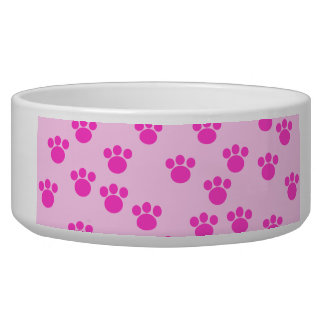 Animal Paw Prints. Light Pink and Bright Pink. Dog Food Bowls