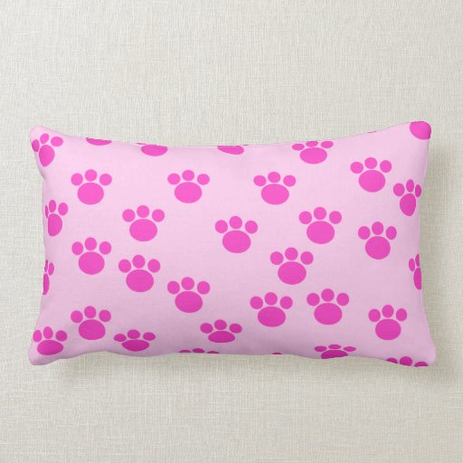 Animal Light Pillows : Animal Paw Prints. Light Pink and Bright Pink. Throw Pillows Zazzle