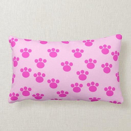 Animal Light Pillows : Animal Paw Prints. Light Pink and Bright Pink. Throw Pillows Zazzle