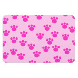 Animal Paw Prints. Light Pink and Bright Pink. Flexible Magnet