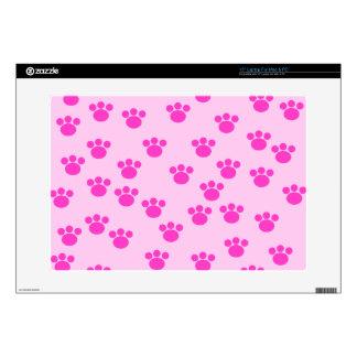 "Animal Paw Prints. Light Pink and Bright Pink. 15"" Laptop Skins"