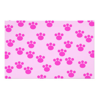Animal Paw Prints. Light Pink and Bright Pink. Stationery