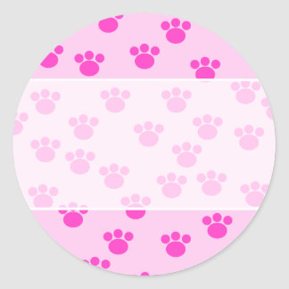 Animal Paw Prints. Light Pink and Bright Pink. Round Stickers