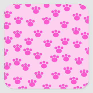 Animal Paw Prints. Light Pink and Bright Pink. Square Sticker