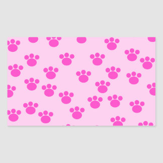 Animal Paw Prints. Light Pink and Bright Pink. Rectangle Sticker