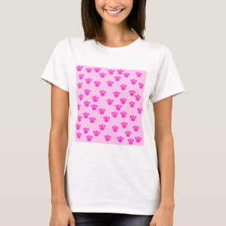 Animal Paw Prints. Light Pink and Bright Pink. T-Shirt