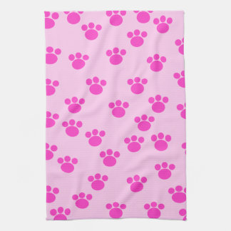 Animal Paw Prints. Light Pink and Bright Pink. Towel