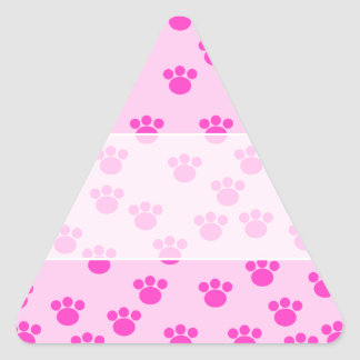 Animal Paw Prints. Light Pink and Bright Pink. Triangle Sticker