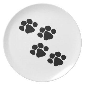 Animal Paw Prints Melamine Plate