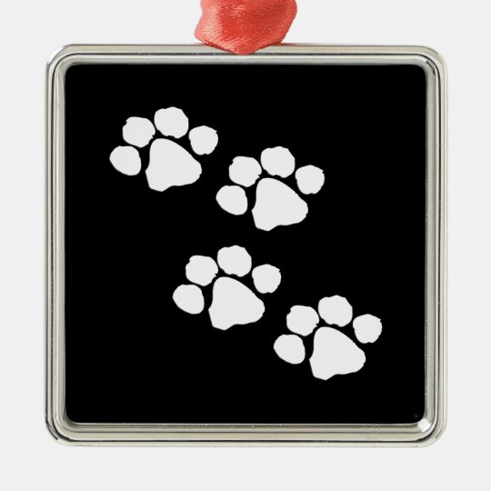 Animal Paw Prints Metal Ornament